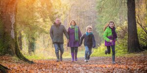 Family out for an autumnal walk in Limerick
